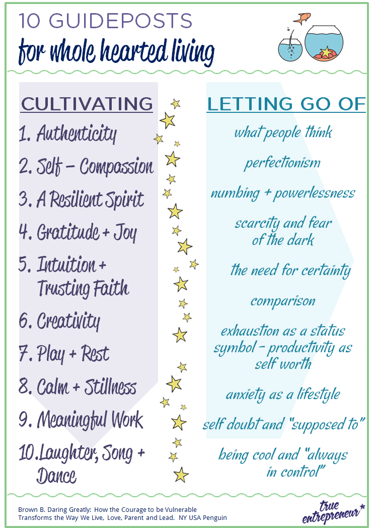 10 Guideposts for Whole Hearted Living
